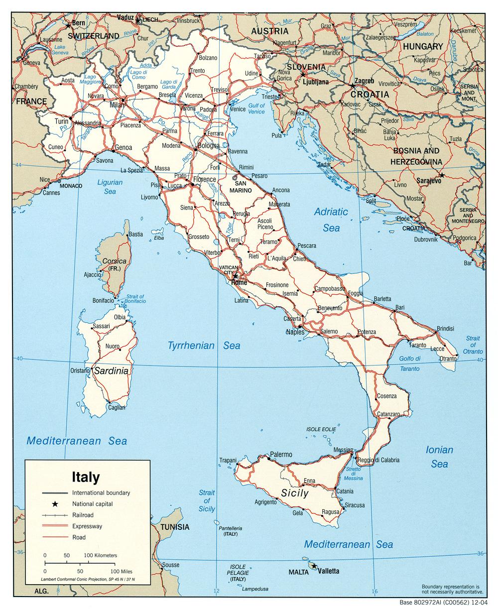 Mapa político de italia autor imagen satelital de italia