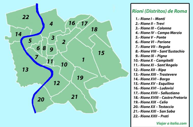 Mapa de los Rioni de Roma