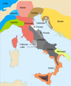 Mapa de la edad del Hierro en Italia