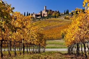 Pueblos de la Toscana en otoño.