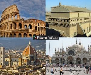 De izquierda a derecha, superior: Coliseo de Roma, Capilla Sixtina, Catedral de Florencia, Basílica de San Marcos.