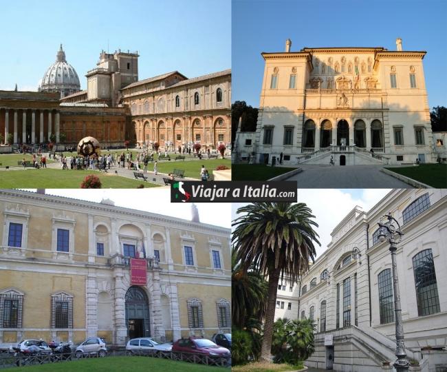 Izquierda superior: Museos Vaticanos, Izquierda inferior: Museo Nacional Etrusco. Derecha superior: Galería Borghese, Derecha inferior: Centrale Montemartini
