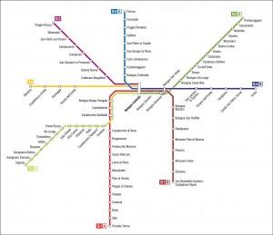 Mapa de las líneas de ferrocarril metropolitano en Bolonia