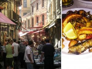 Mercado de Palermo y plato marino
