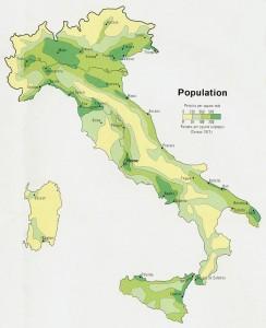 Mapa poblacional de Italia en 1972