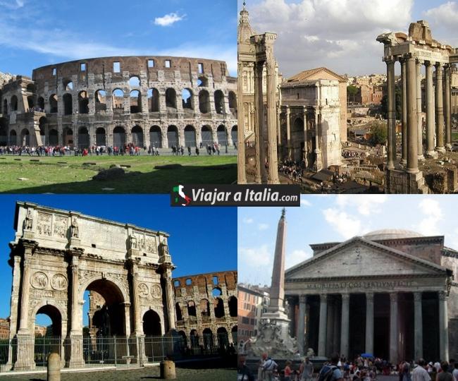 Izquierda superior: Coliseo Romano. Izquierda inferior: Arco de Constantino. Derecha superior: Templo de Apolo Palatino. Derecha inferior: Panteón de Agripa