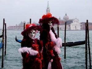 Pareja de nobles en el carnaval de Venecia
